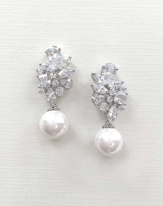 USABride Celine Pearl & CZ Earrings JE-4071 Wedding Earring photo