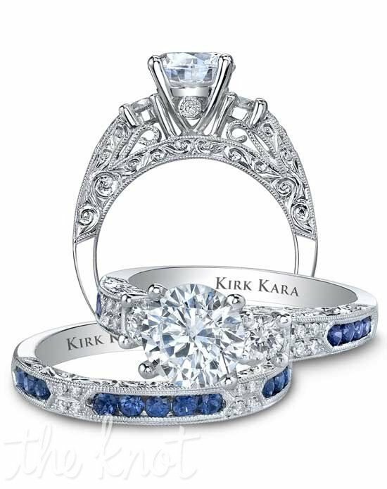 Kirk Kara Amelia Collection K1390SDE-R & K1390SD-B Platinum, White Gold Wedding Ring