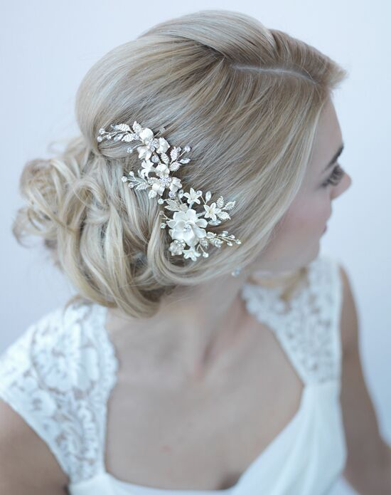 USABride Ivory & Gold Floral Clip TC-2274-G Gold Pins, Combs + Clip