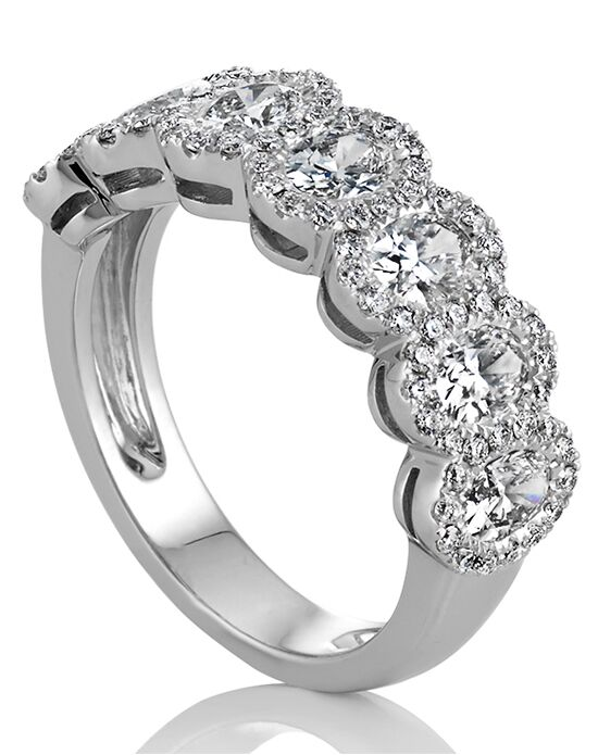 Shane Co. Oval and Round Diamond Halo Wedding Band White Gold Wedding Ring