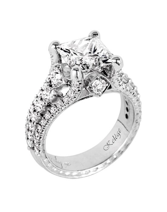 Jack Kelege Glamorous Princess Cut Engagement Ring