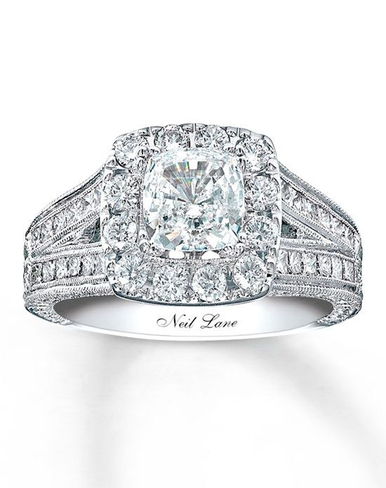 Neil Lane Diamond Engagement Ring 2 ct tw Cushioncut 14K White Gold
