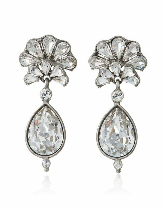 Thomas Laine Crystal Fan Teardrop Bridal Earrings Wedding Earring photo