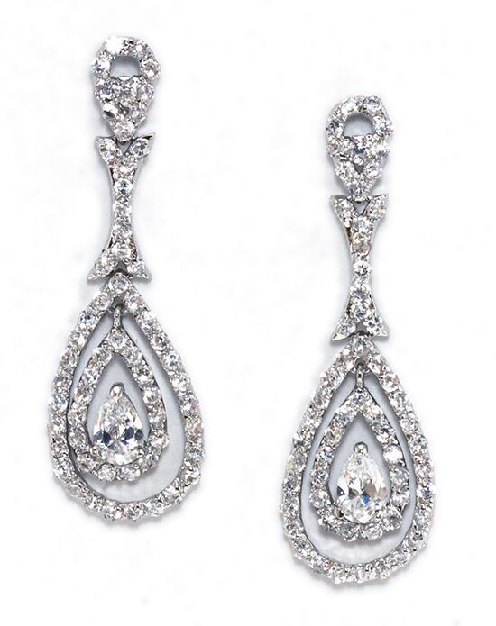 Anna Bellagio SIENNA PAVE' CUBIC ZIRCONIA DAZZLING DROP EARRING Wedding Earring photo