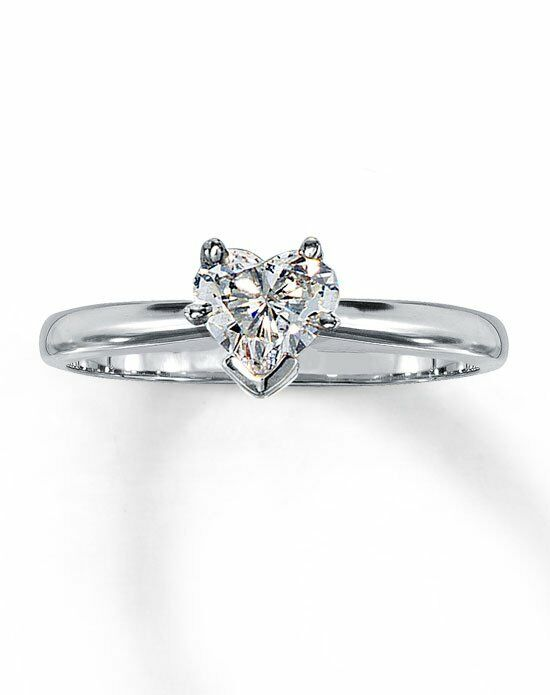kay jewelers diamond solitaire ring 12 ct heart shaped 14k white gold - Kay Jewelers Wedding Rings For Her