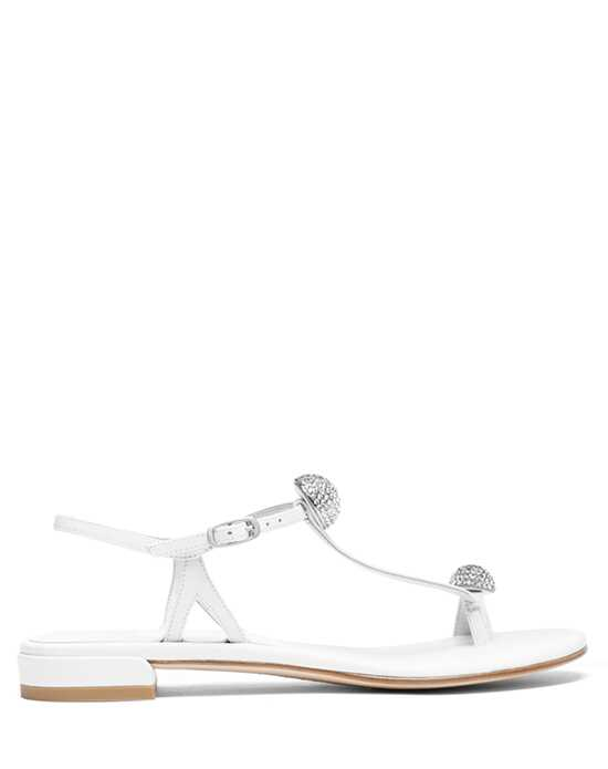 Stuart Weitzman Ballsoffire Flat Bridal White Nappa Leather