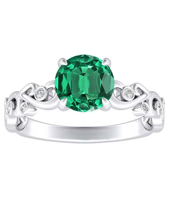 DiamondWish.com Vintage Emerald, Round Cut Engagement Ring