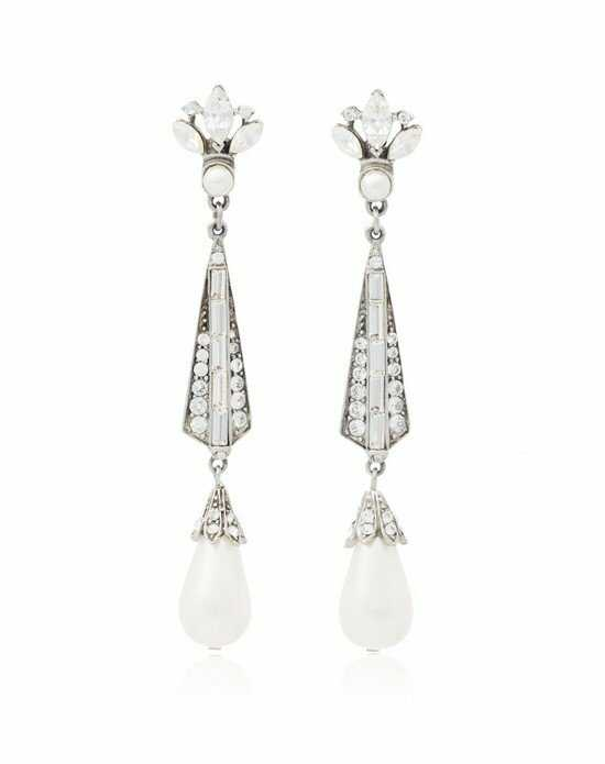 Thomas Laine Ben-Amun Bridal Teardrop Pearl and Crystal Earrings Wedding Earring photo