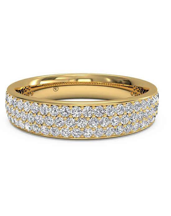 Ritani Women's Triple Micropave Diamond Wedding Band - in 18kt Yellow Gold - (0.70 CTW) Gold Wedding Ring