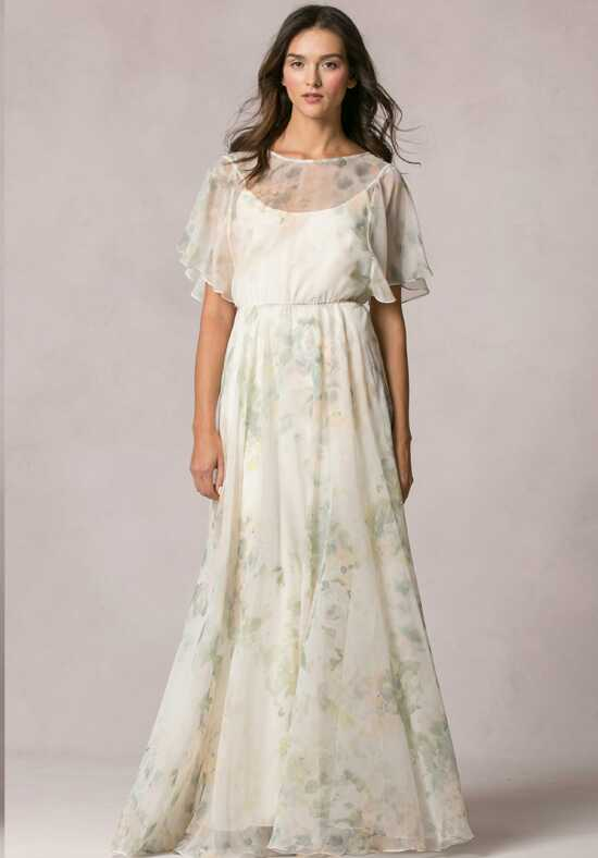 Jenny Yoo Collection (Maids) Peyton Print Bateau Bridesmaid Dress
