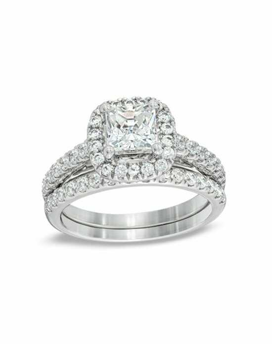 Zales 2 CT T W Princess Cut Diamond Frame Bridal Set in 14K White Gold 1945