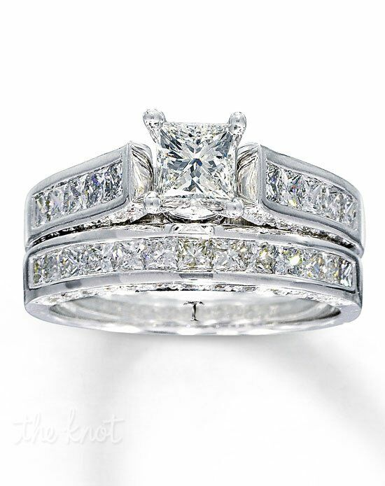 Tolkowsky Diamond Bridal Set 1 7 8 Ct Tw Princess Cut 14k White Gold