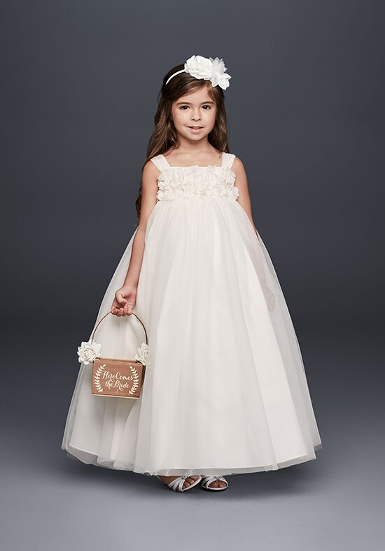 David's Bridal Flower Girl OP241 White Flower Girl Dress