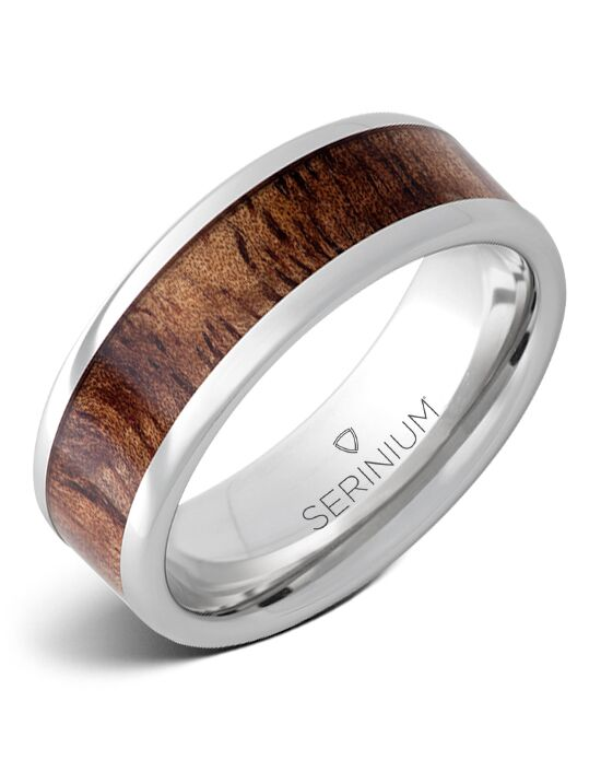 Serinium® Collection Mahalo — Tiger Koa Wood Inlay Serinium® Ring-RMSA002899 Serinium® Wedding Ring