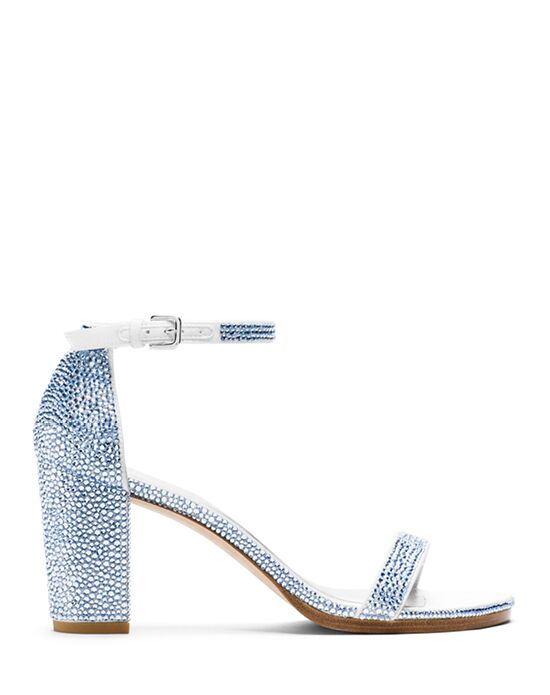 Stuart Weitzman Nearlynude Sandal Bridal Light Sapphire Pave Crystals