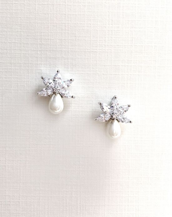 USABride CZ & Freshwater Pearl Stud Earrings JE-4065 Wedding Earring photo