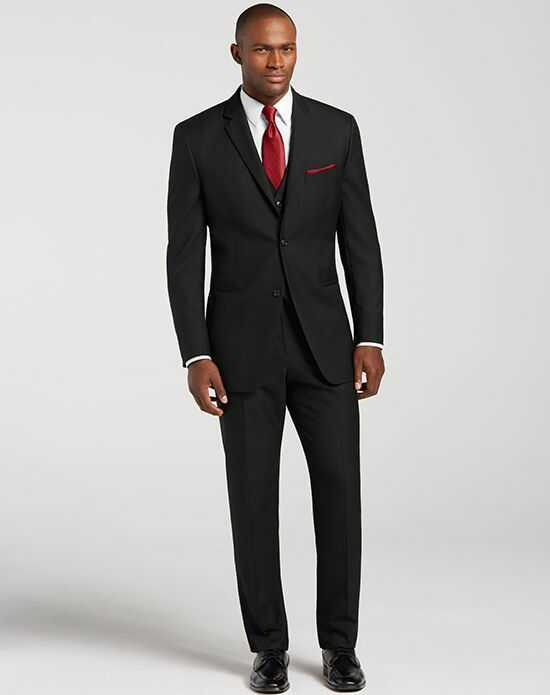 Men's Wearhouse Pronto Uomo Black Notch Lapel Suit Black Tuxedo
