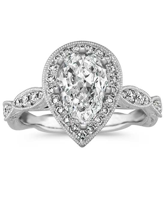 shane co vintage pear shaped halo diamond engagement ring - Pear Shaped Wedding Ring