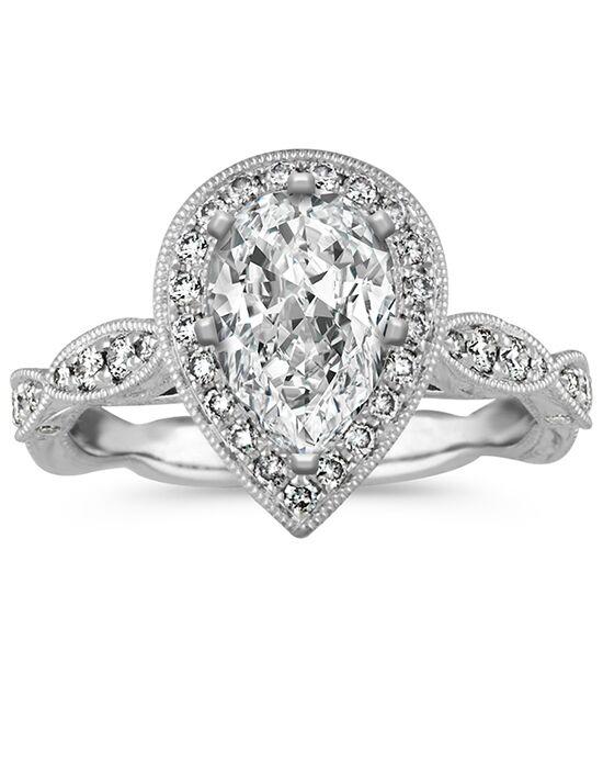 Shane Co. Vintage Pear Shaped Halo Diamond Engagement Ring ...