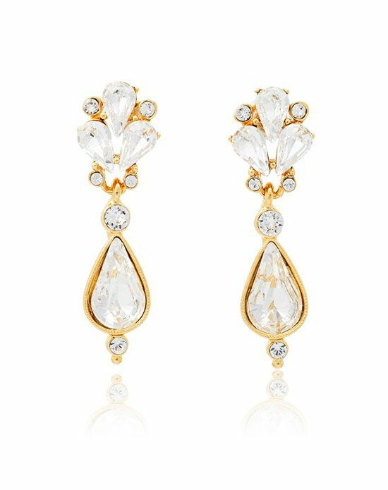 Thomas Laine Ben-Amun Small Crystal Fan Teardrop Earrings Wedding Earring photo