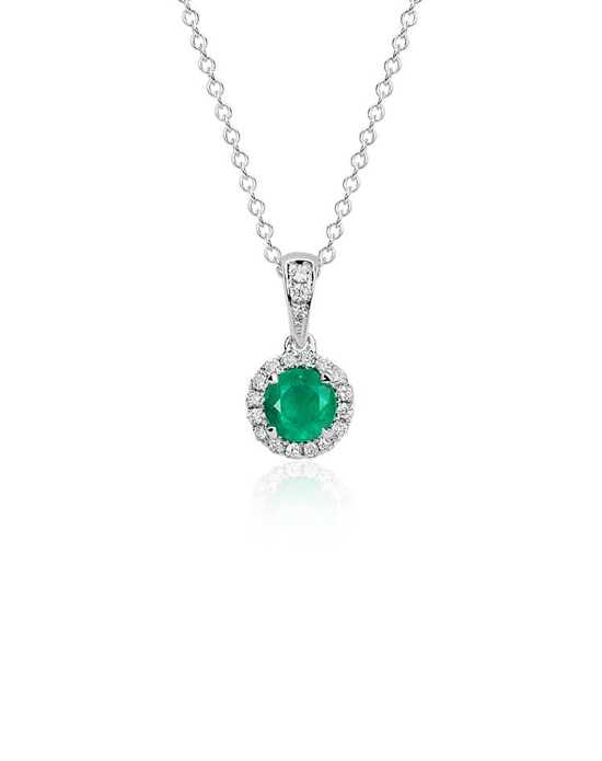 Blue Nile Emerald and Diamond Micropavé Pendant Wedding Necklace photo