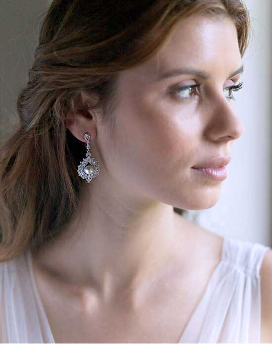 Dareth Colburn Elegant Pearl CZ Earrings Wedding Earring photo