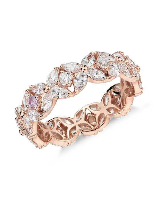 Monique Lhuillier Fine Jewelry Petal Garland Diamond Eternity Ring Rose Gold Wedding Ring