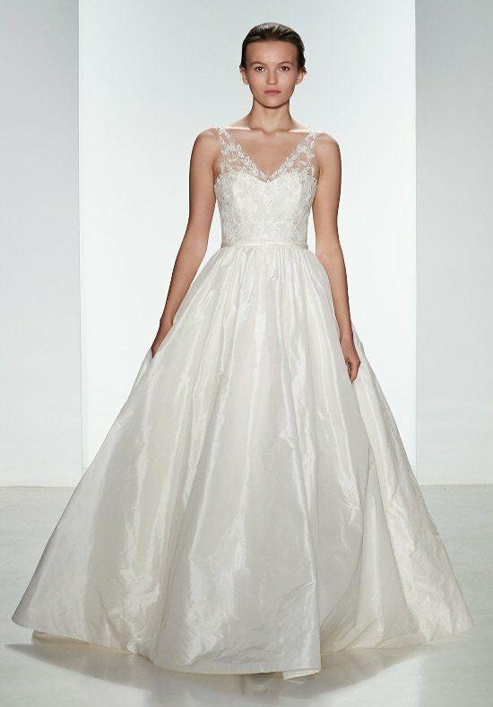 Amsale a685 bardot wedding dress the knot for Amsale wedding dress price