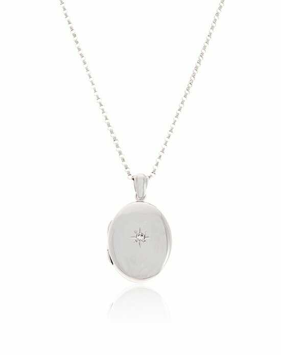 Thomas Laine Premium Sterling Silver Oval Diamond Locket Wedding Necklace photo