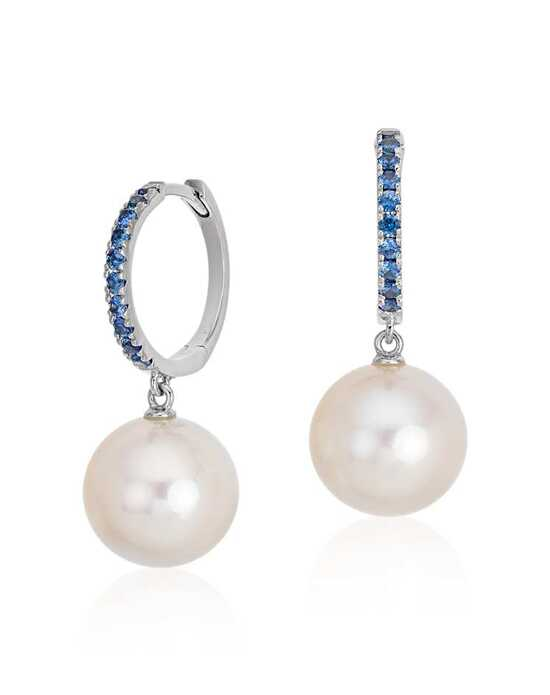 Blue Nile Sapphire and Freshwater Cultured Pearl Hoop Earrings Wedding Earring photo