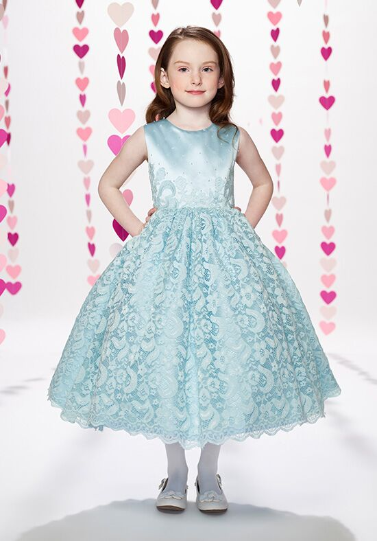 Joan Calabrese by Mon Cheri 217390 Blue Flower Girl Dress