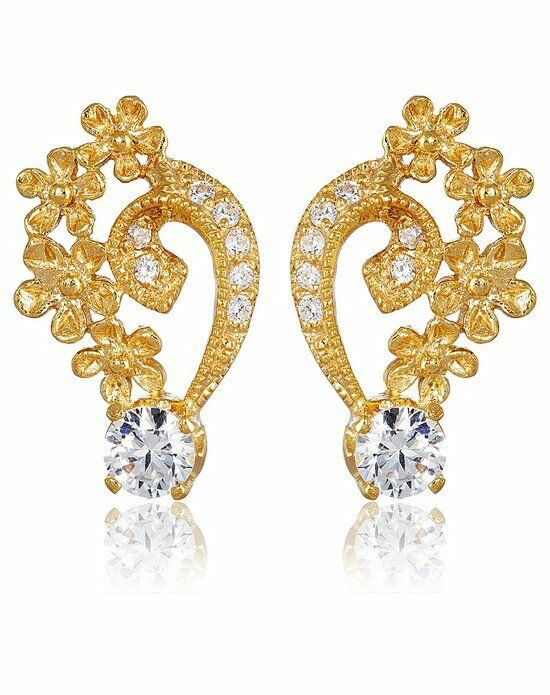 Thomas Laine Grace Petal Earrings - Yellow Gold Wedding Earring photo