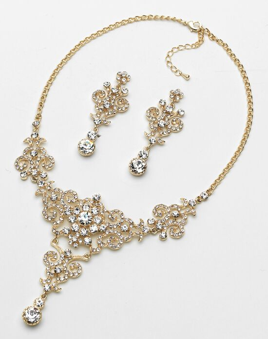 USABride Victorian Gold Rhinestone Jewelry Set (JS-1660-G) Wedding Necklace photo