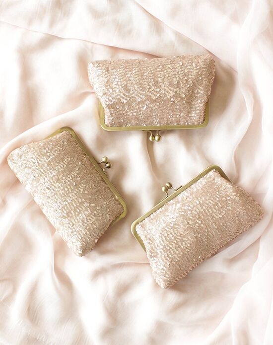 Davie & Chiyo | Clutch Collection Ella Clutch Set Pink, Champagne Clutches + Handbag