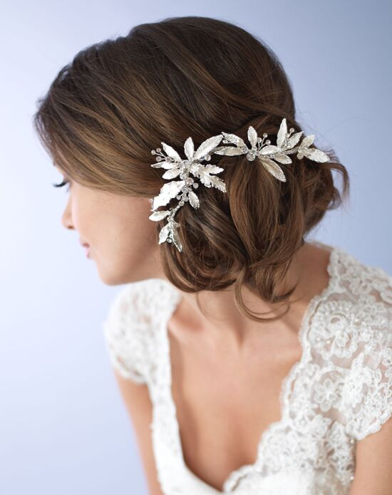 USABride Caprice Floral Clip TC-2282 Silver Pins, Combs + Clip