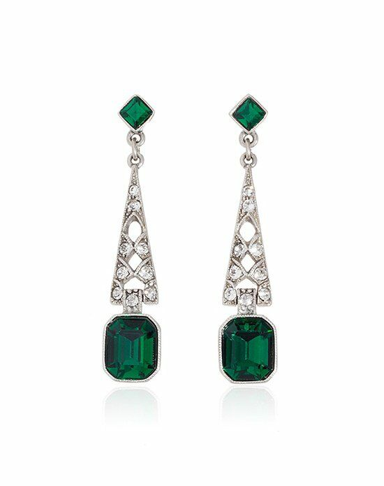 Thomas Laine Ben-Amun Bridal Emerald Crystal Deco Earrings Wedding Earring photo