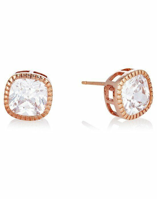 Thomas Laine Lucille  Cushion Cut Stud Earrings - Rose Gold Wedding Earring photo