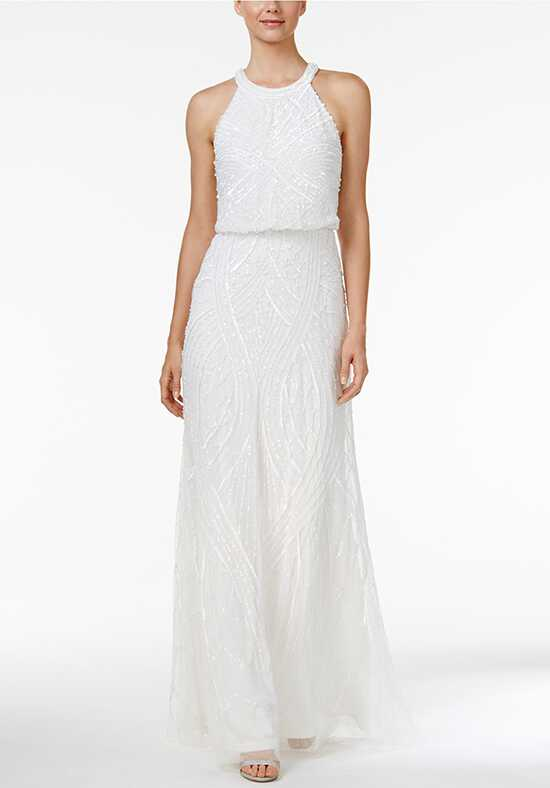 Adrianna Papell Wedding Dresses Adrianna Papell Sequined Blouson Halter Gown A-Line Wedding Dress