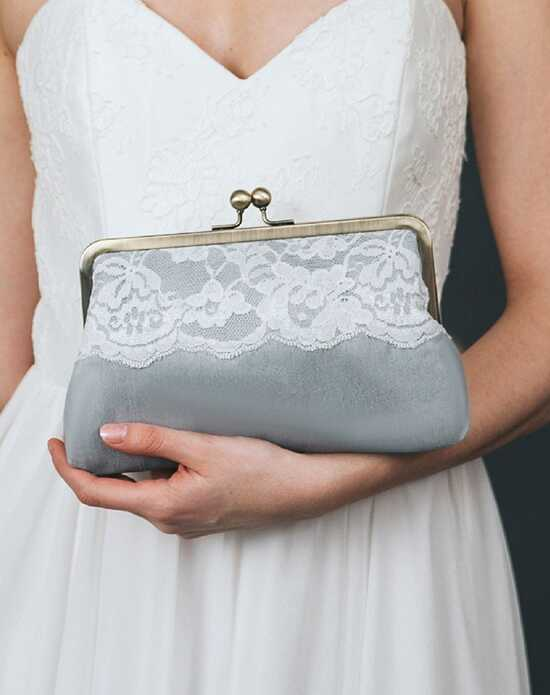 Davie & Chiyo | Clutch Collection Bijou Clutch: Ivory on Grey Mist Gray, Ivory Clutches + Handbag