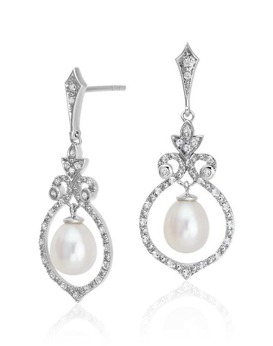 Blue Nile Floating Freshwater Pearl in White Topaz Swirl Dangle Earrings Wedding Earrings photo