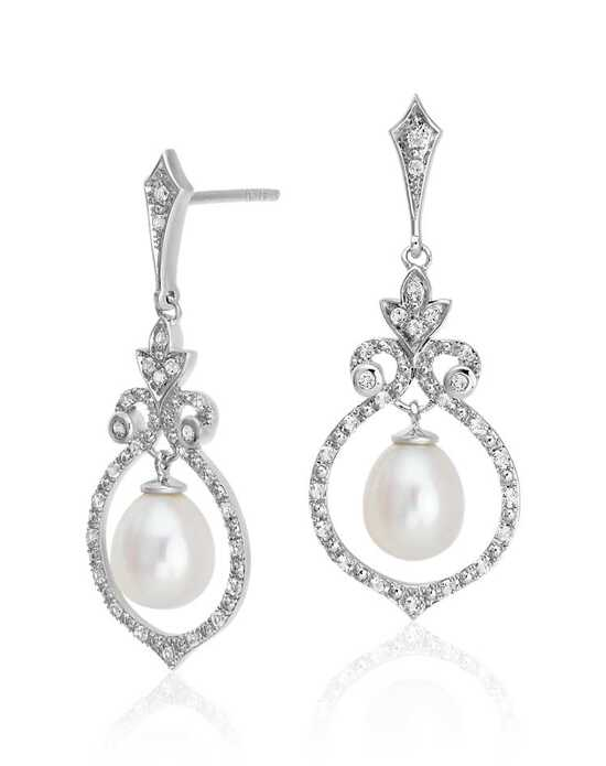 Blue Nile Floating Freshwater Pearl in White Topaz Swirl Dangle Earrings Wedding Earring photo
