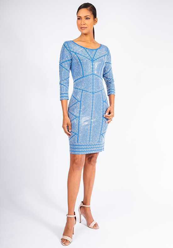 Grayse Wedding Party Crystal Illusion Modal Cocktail Dress - W142P041 Blue Mother Of The Bride Dress