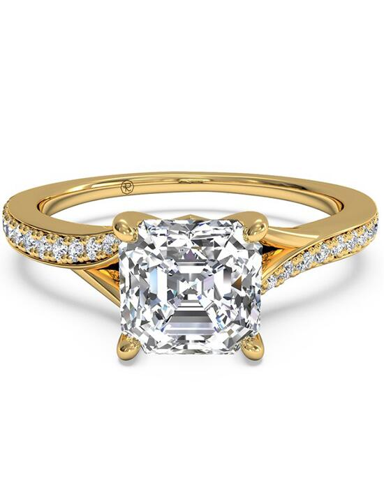 Ritani Modern Bypass Micropavé Diamond Band Engagement Ring - in 18kt Yellow Gold - (0.19 CTW) for a Asscher Center Stone Engagement Ring photo
