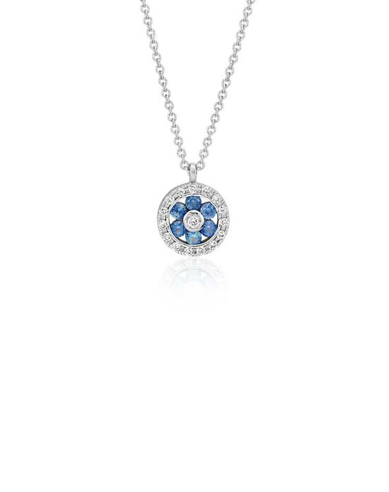 Blue Nile Petite Sapphire and Diamond Circle Pendant Wedding Necklace photo