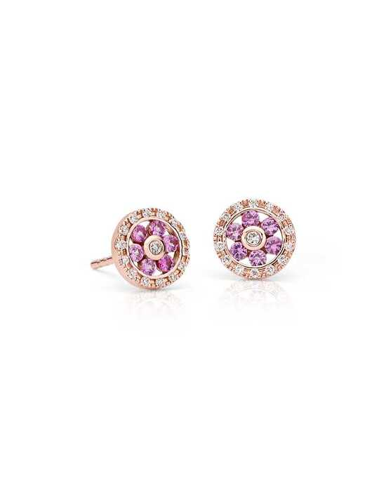 Blue Nile Pink Sapphire and Diamond Circle Earrings Wedding Earring photo