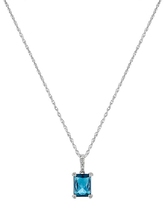 Shane Co. Checkerboard Cut London Blue Topaz and Diamond Pendant Wedding Necklace photo