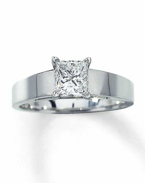 Kay Jewelers Diamond Solitaire Ring 1 ct Princess Cut 14K White Gold