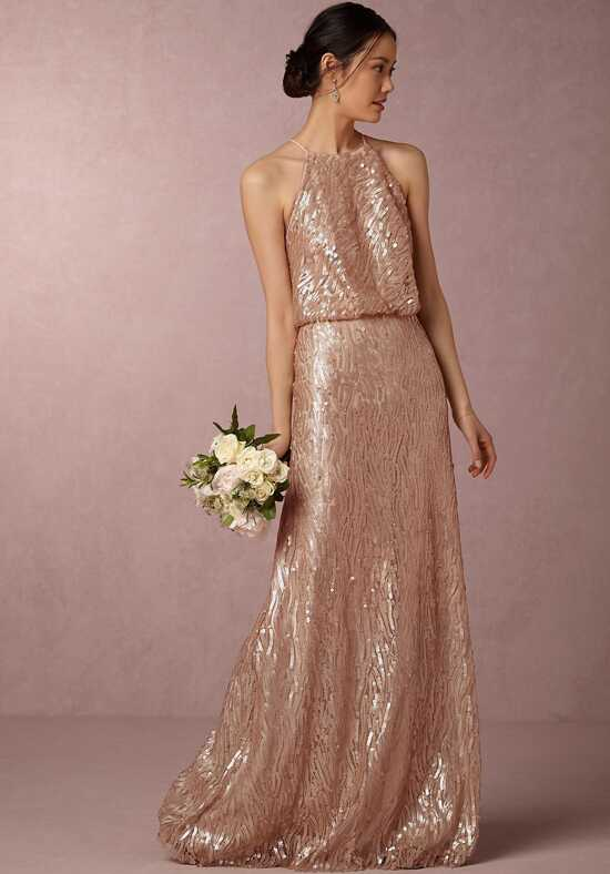 BHLDN (Bridesmaids) Sequined Alana Dress - Bisque Halter Bridesmaid Dress