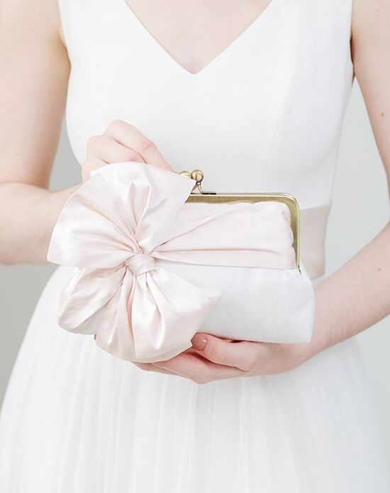 Davie & Chiyo | Clutch Collection Classic Bow Clutch: Blush Ivory, Pink Clutches + Handbag