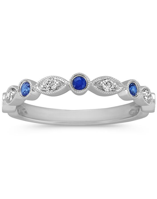 Shane Co. Round Traditional Sapphire and Round Diamond Wedding Ring White Gold Wedding Ring